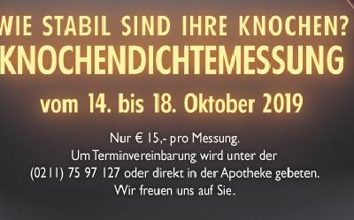 Knochendichte Messung im Oktober